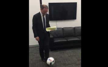 VIDEO: Martin O'Neill sets off fire alarm in TV3 studios with a wicked half-volley