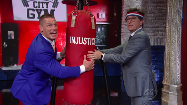 WATCH: John Cena taking Stephen Colbert for a training montage is as awesome as it sounds
