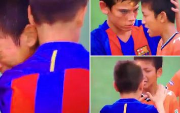 Barcelona kids melt hearts by consoling crying losing team in youth game
