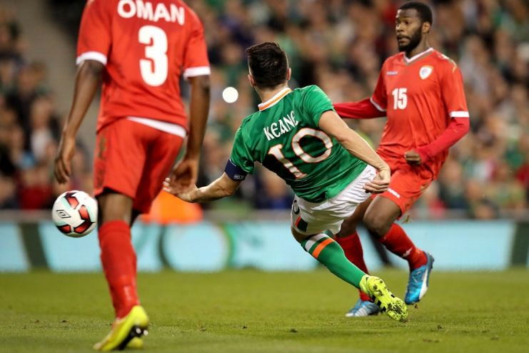 Three International Friendly, Aviva Stadium, Dublin 31/8/2016Republic of Ireland vs OmanIreland's Robbie Keane scores the second goal of the game Mandatory Credit ©INPHO/Ryan Byrne