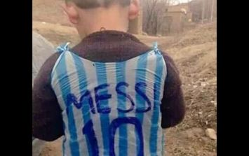 TWEETS: A campaign to identify a child wearing a plastic bag as a Lionel Messi jersey has gone viral