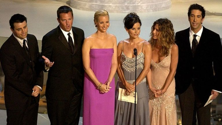 PIC: The cast of Friends (except Chandler) gather for the