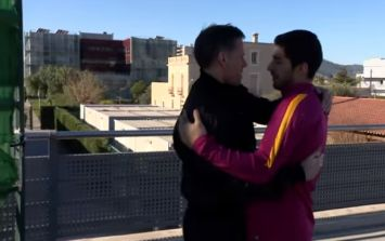 VIDEO: We'd love to know what Jamie Carragher is saying to Luis Suarez as they're reunited