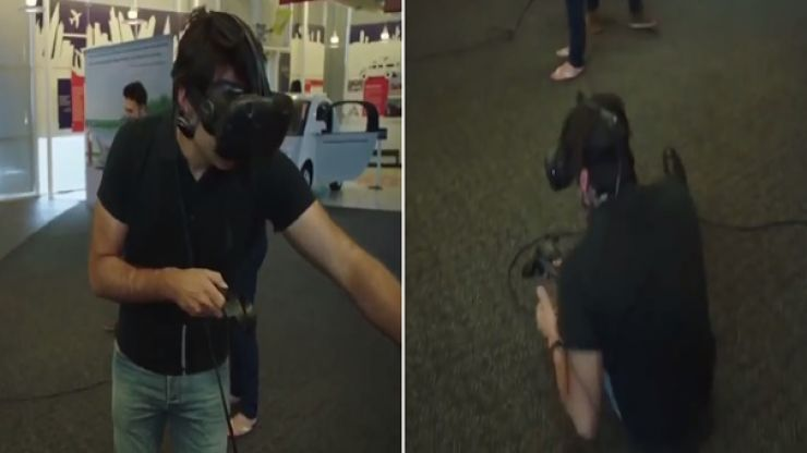 WATCH: Ronnie O'Sullivan gives virtual reality pool a try; fails miserably and falls on his arse