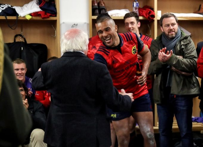 European Rugby Champions Cup Round 2, Thomond Park, Limerick 22/10/2016 Munster vs Glasgow Warriors Munster's Simon Zebo with President Michael D. Higgins after the game Mandatory Credit ©INPHO/Dan Sheridan
