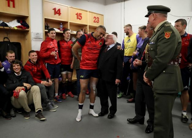 European Rugby Champions Cup Round 2, Thomond Park, Limerick 22/10/2016Munster vs Glasgow WarriorsMunster's Simon Zebo with President Michael D. Higgins after the gameMandatory Credit ©INPHO/Dan Sheridan
