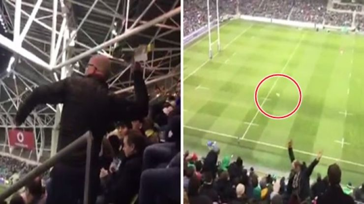 WATCH: Marvel at this paper airplane thrown from the stands in the Aviva that lands on the pitch