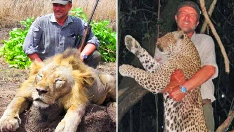 Vet who gained fame for posing with dead lions dies whilst hunting