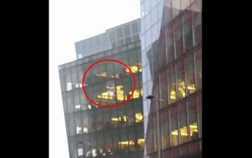 WATCH: A window blew away from Facebook HQ in Dublin during Storm Barbara this afternoon