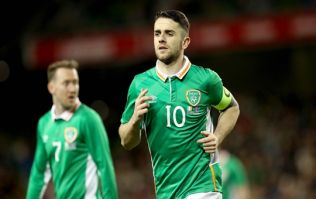 PIC: Smiling Robbie Brady meets Ireland fan with Robbie Brady tattoo on his arse