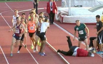 WATCH: Official wanders into the track and collides with 1500m race runners