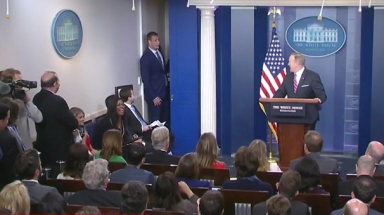 WATCH: NFL star Rob Gronkowski just gatecrashed a Sean Spicer press briefing at the White House