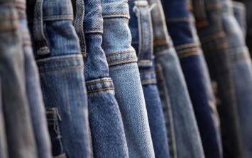 A luxury fashion store is selling these pairs of dirty jeans for a little over €400