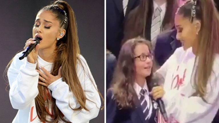 Lovely moment as Ariana Grande comforts and performs with a young