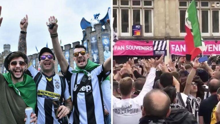 WATCH: Juventus fans are taking over Cardiff city centre