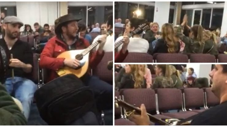 WATCH: More brilliant footage of the trad session that broke out in Newcastle after a flight to Ireland was delayed