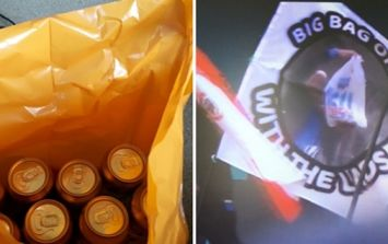 The Glastonbury flag game is on fire as 'big bag of cans with the lads' flag takes centre stage