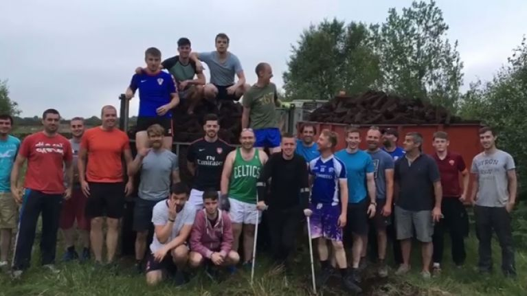 WATCH: GAA team skip training to help their injured captain draw in turf at the bog