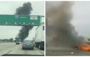 VIDEO: Private plane crashes into busy California highway