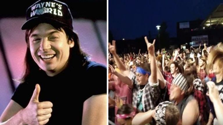 WATCH: 1,000 people broke the Headbanging World Record in honour of Wayne's World