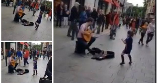 WATCH: 5-year-old can't help but dance along to Grafton Street busker