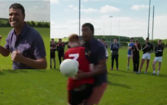 Chris Kamara stands up to shoulder from Tyrone man, ends in disaster