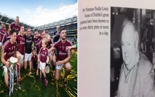 PIC: Paddy Losty would have appreciated the Galway Pintman flag in Hill 16 yesterday