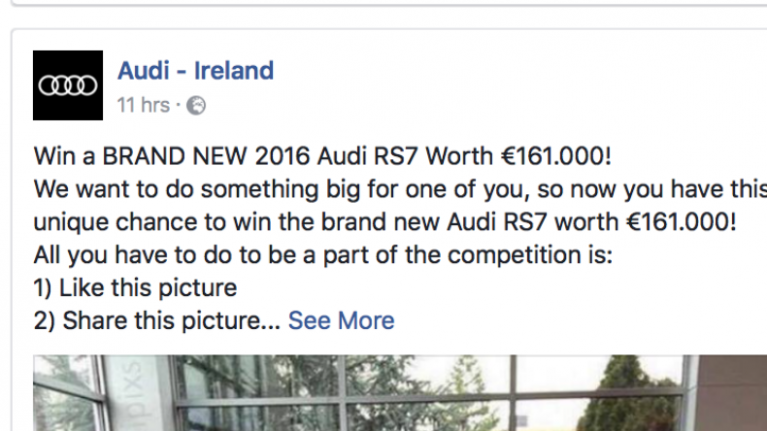 Audi Ireland issue warning as a lot of people get caught out by fake Facebook page competition