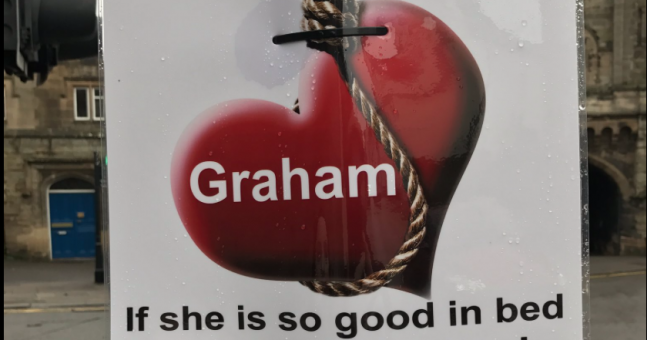 A love-scorned woman has posted these brutal posters about her ex