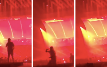 WATCH: Drake promises free concert after Travis Scott falls through a hole in the stage