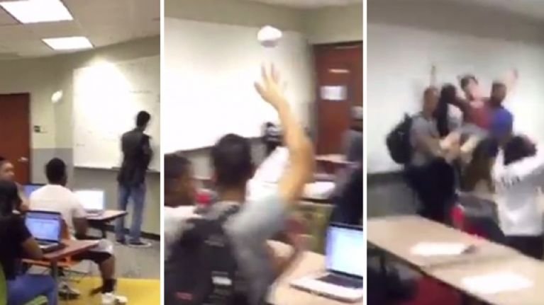 Student absolutely nails an outrageous no-look trick shot in class