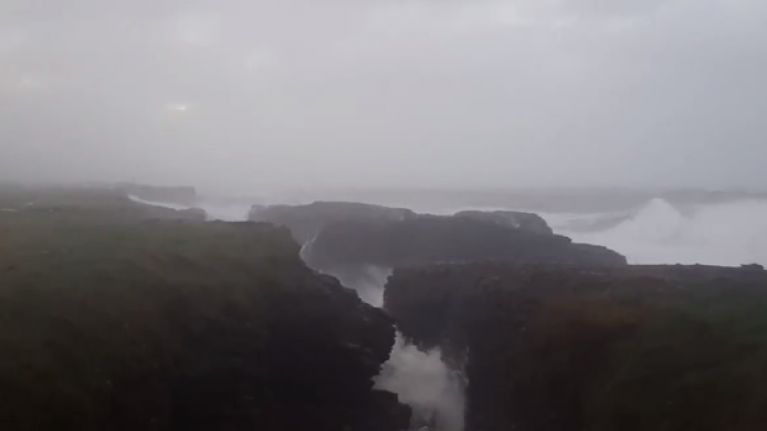 WATCH: Hook Head in Wexford took a battering from Storm Brian on Saturday morning