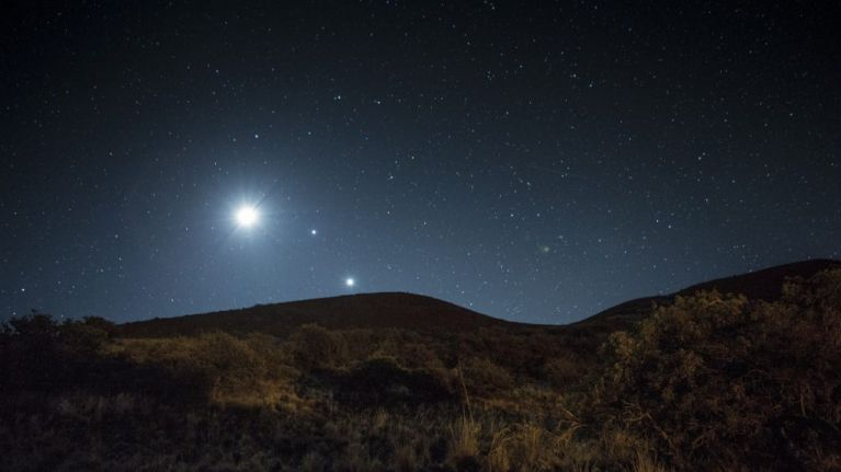 Venus-Jupiter conjunction is taking place Monday morning and it's going to be beautiful