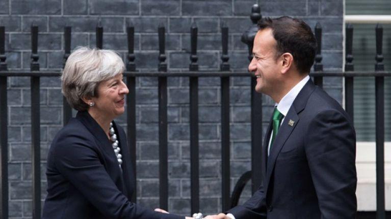 "Theresa May agrees on ""paramount importance of no hard border"" in phone call with Leo Varadkar"