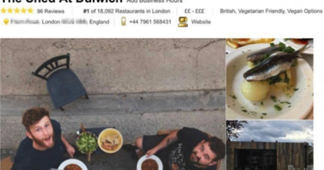 Prankster makes his garden shed the top London restaurant on TripAdvisor after fake reviews