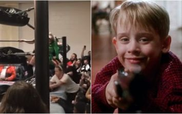 Macaulay Culkin breaks out Home Alone tactics to interrupt a wrestling match