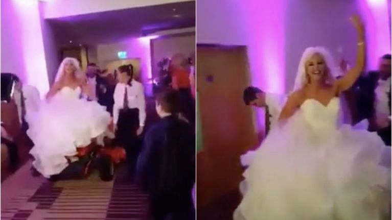 Watch This Bride S Wedding Entrance On A Ride On Lawnmower Is The