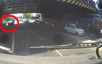 Car driver filmed deliberately swerving into cyclist and knocking him off his bike