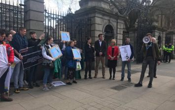 DCU students spent the day protesting rent increases outside the Dáil