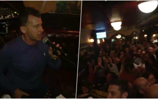 Nigel Owens brought the house down during a sing-song in a Dublin pub at the weekend
