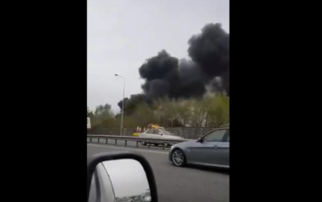 Gardaí and Dublin Fire Brigade attend a fire on Naas Road that's affecting traffic