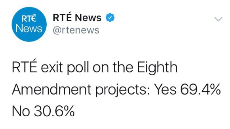 There was a fantasically Irish reaction to the RTÉ exit poll 69% Yes vote