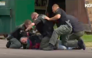 Shocking footage shows police repeatedly punching man on the ground