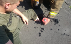 Heatwave causes this man to get his leg stuck in melted tarmac