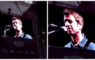 "WATCH: ""It so f**king isn't"" - Noel Gallagher reacts on-stage to crowd singing 'Football's Coming Home'"