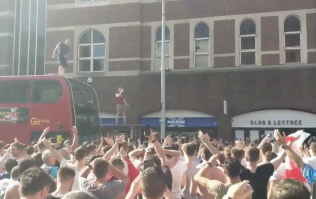 England fans celebrating on top of a London bus goes as well as you think