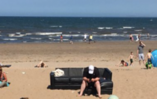 Man at the beach doesn't fancy sunbathing, brings his own couch instead