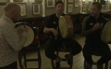 WATCH: Liverpool legends try their hand at a Irish trad music session while in Dublin