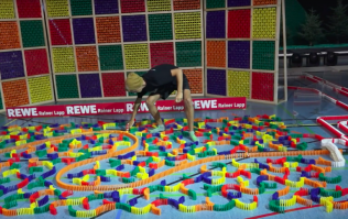 World record attempt at longest domino chain ruined by fly after agonising set-up