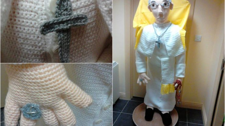 A full-sized crochet version of Pope Francis has been set up in Knock Airport